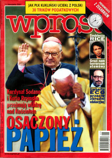 Okładka tygodnika Wprost nr 45/2001 (989)