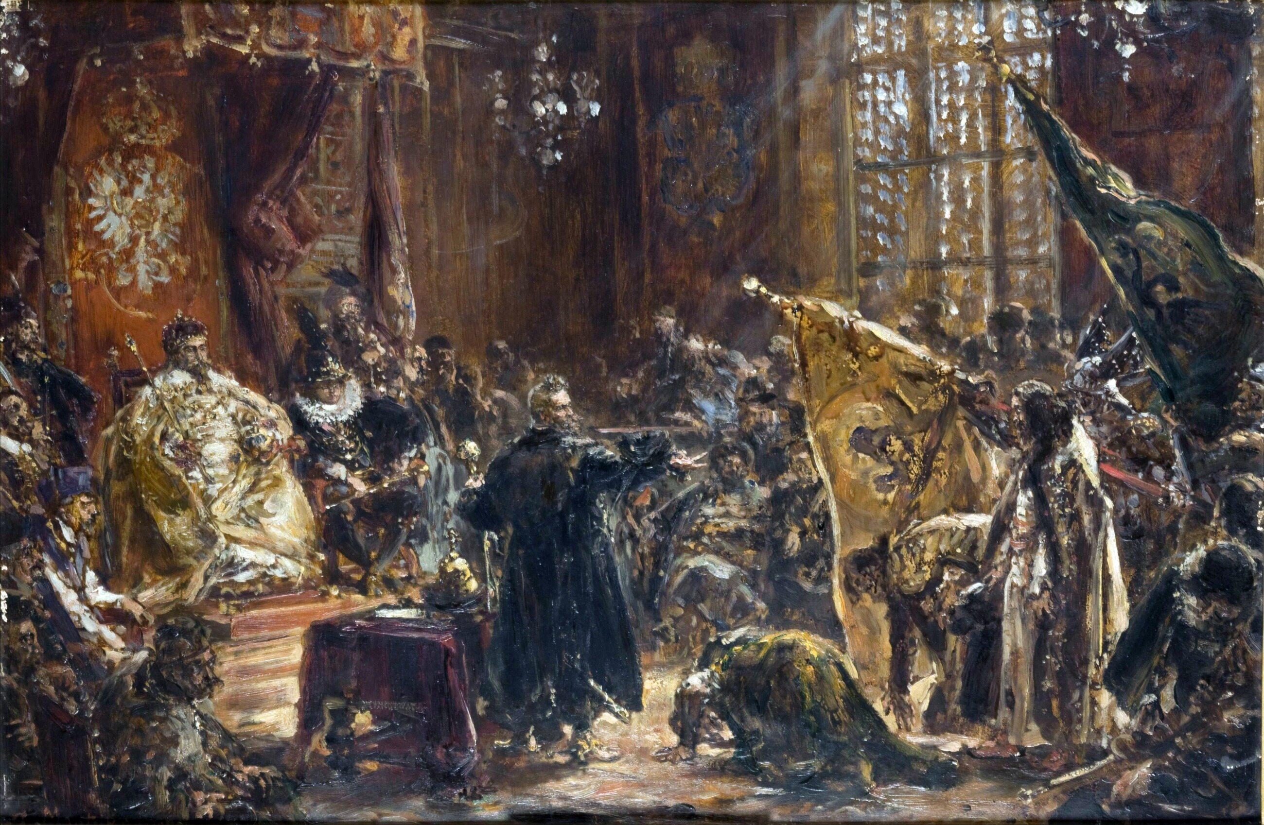 Obraz przedstawia pokłon byłego cara Wasyla IV Szujskiego z braćmi przed królem: