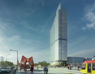 Budowa Skylinera, najwyższego budynku na Woli, przedstawiona na...