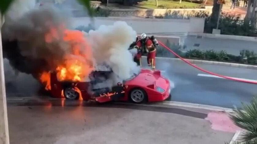 Ferrari F40 w płomieniach