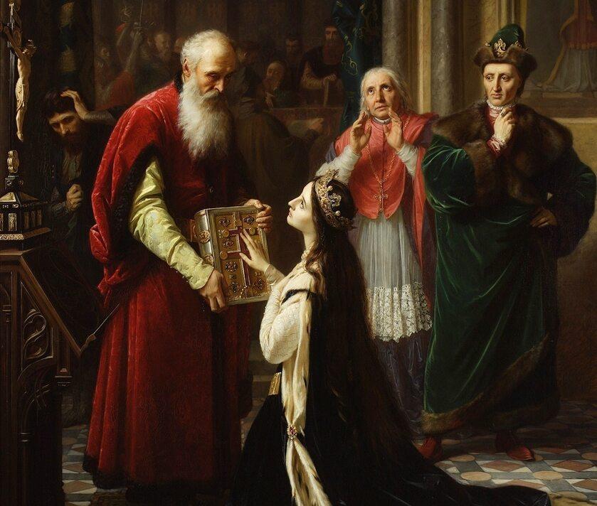 Przysięga królowej Jadwigi. W 1387 r. oskarżona o zdradę królowa miała przysiąść, ze była wierna mężowi (z tyłu, po prawej)