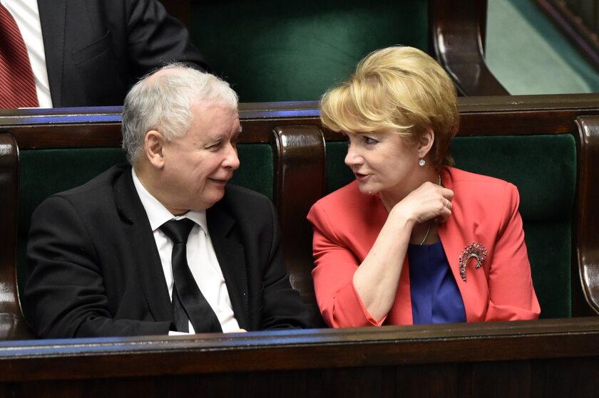 Jarosław Kaczyński i Jolanta Szczypińska