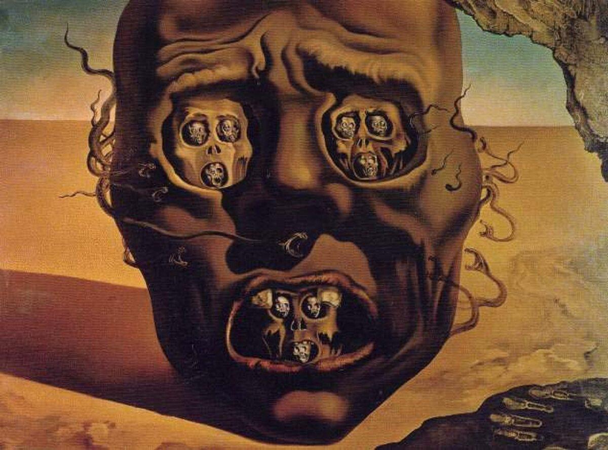 """Salvador Dali """"The Face of War"""" 1940 r."""