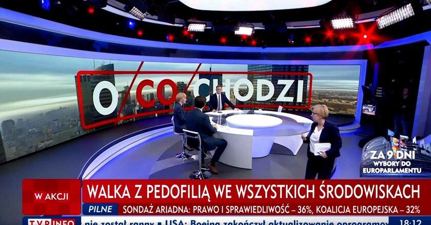 """Paulina Hennig-Kloska wychodzi ze studia """"O co chodzi"""""""
