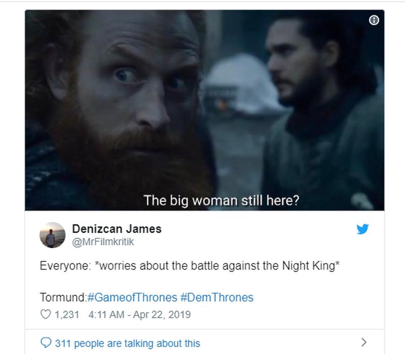 """Wszyscy martwią się bitwą, Tormund cieszy obecnością """"Wielkiej kobiety"""""""